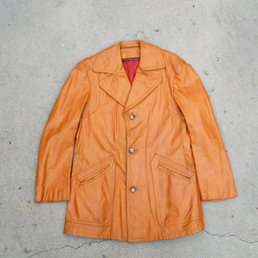 Classic Vintage 1970s Men's Leather Car Coat by circlethesquare