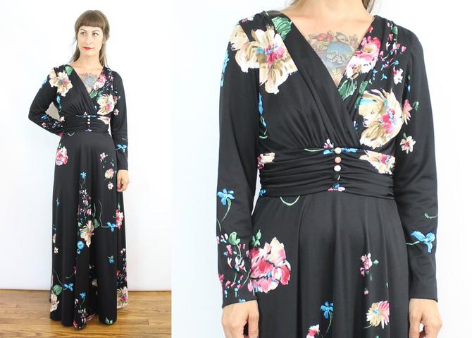 Vintage 70's Black Dark Floral Cocktail Gown / 1970's Floral Floor Length Dress / Jersey / Long Sleeve / Women's Size Medium by RubyThreadsVintage
