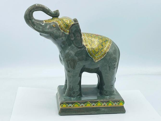 """Vintage Frederick Cooper Ceramic Gloss Finish Elephant Figurine- Gold Highlights- 8"""" Excellent Condition by JoAnntiques"""