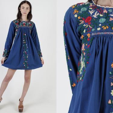 Royal Blue Womens Oaxacan Mini Dress / Long Sleeve Cotton Mexican Dress / Dia De Los Muertos Style by americanarchive