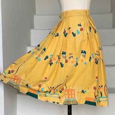 1950s Novelty Print Skirt Shopping Food Fruit Sweets 24 Waist Vintage by AmalgamatedShop