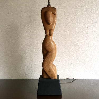 Carved Wood Nude Sculptural Table Lamp, 1950s Modernism in Manner of Heifetz by templeofvintage