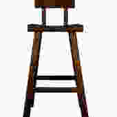 Quality Handmade Solid Wood  Dark Brown Color Tall A Shape Bar Stool With Back wk2170E by GoldenLotusAntiques