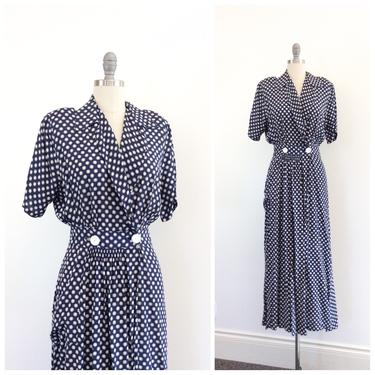 FINAL PAYMENT for LEA /// 40s Navy Blue & White Dot Cold Rayon Wrap Dress / 1940s Vintage Dressing Gown / Large by CheshireVintageShop