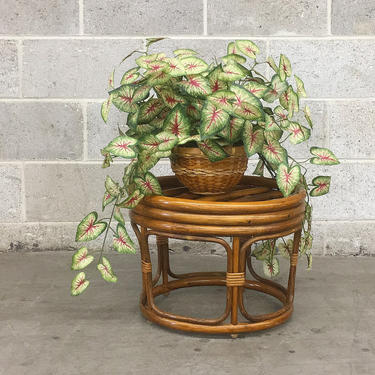 Vintage Plant Stand Retro 1980s Rattan + Ottoman or Stool + Round Shape + Brown + Bohemian Furniture or Decor + Indoor + Outdoor Seating by RetrospectVintage215