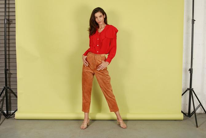 80s Brown Caramel Suede Trousers Vintage Leather Cigarette Skinny Pants by AppleBranchesVintage