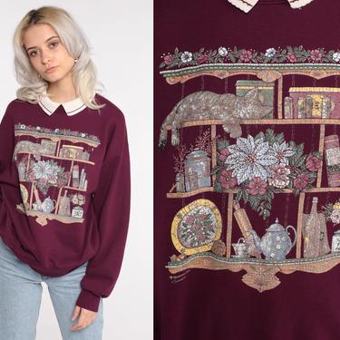 Collared Cat Sweatshirt Burgundy Kitten Sweater 80s Animal Kawaii Sweater Grandma Vintage 90s Graphic Pullover Jumper Jerzees Medium Large by ShopExile