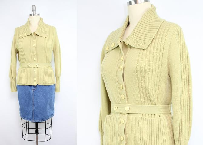 Vintage 70's Matcha Latte Knit Cardigan / 1970's Acrylic Cardigan Sweater with Pockets / Button Up / Women's Size Medium - Large by RubyThreadsVintage