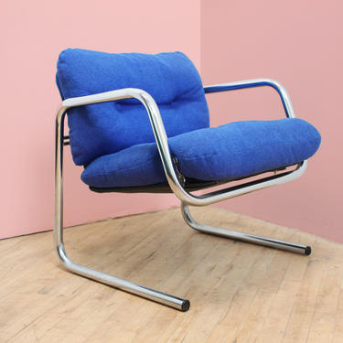Tubular Chrome Chair Cantilever Lounge Jerry Johnson Landes Recliner Chair Mid Century Modern Blue by 330Modern