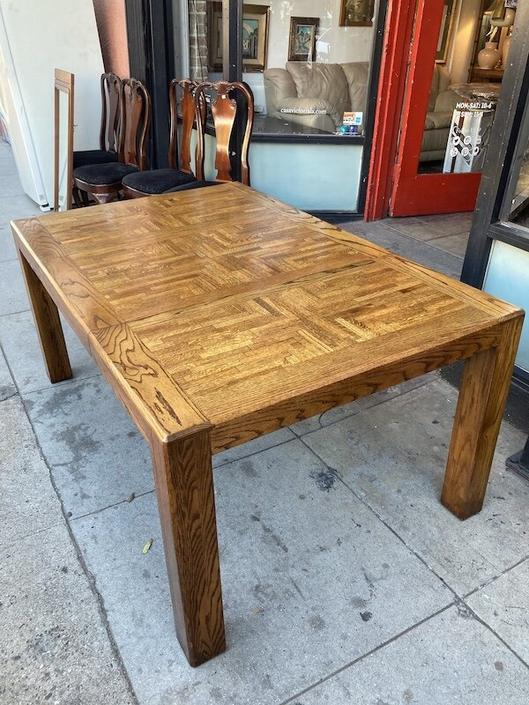 Good to Be Home | 1980s Custom Parsons-style Oak Dining Table