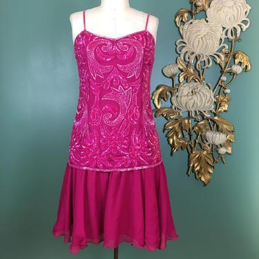 1980s beaded dress, hot pink chiffon, vintage 80s dress, flapper style dress, drop waist dress, 80s does the 20s, 1920s style dress, medium by BlackLabelVintageWA
