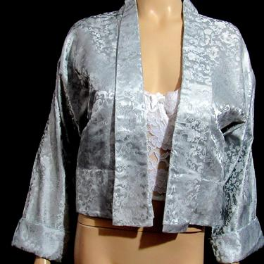 Vintage 50s Asian Bed Coat or Short Kimono Large Silver Dragons As Is Wounded Bird by GraveyardVintage
