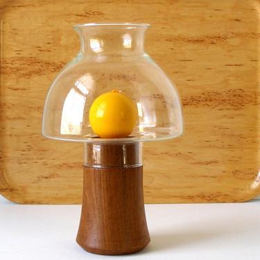 DANSK Teak Hurricane Lamp Clear Glass Chimney Vintage Wood Pillar Candle Holder Base Brass Cup Danish Modern w Yellow Candle  Ex Cond by FultonLane