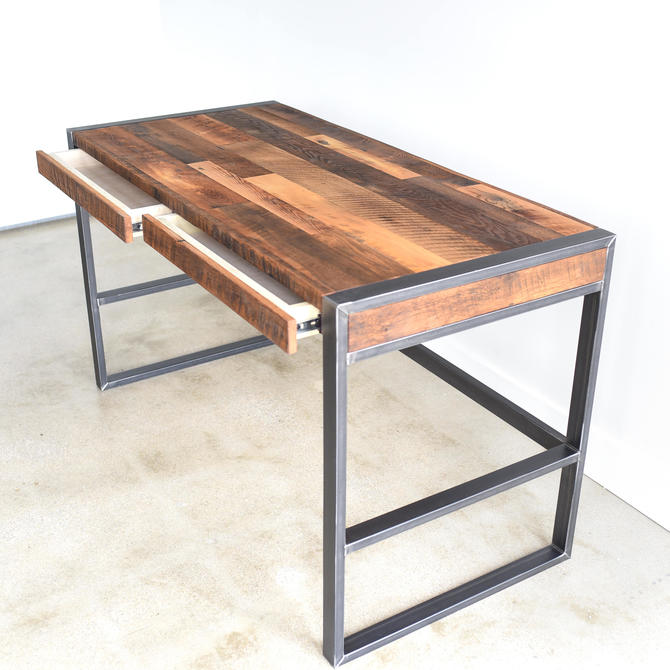 Rustic Office Desk / Industrial Patchwork Desk made from Reclaimed Wood by wwmake