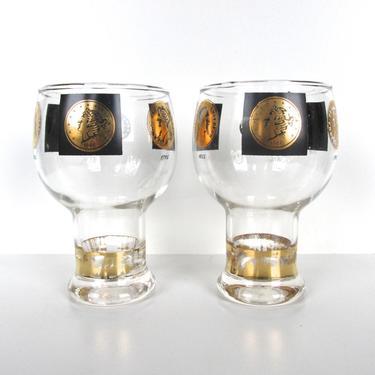 Set of 2 Cera Gold Coin Hollywood Regency Beer Glasses, Black and Gold Vintage Coin Goblets by HerVintageCrush