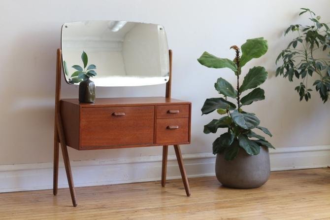 Mid Century Danish Modern Swivel Mirror Vanity by SharkGravy