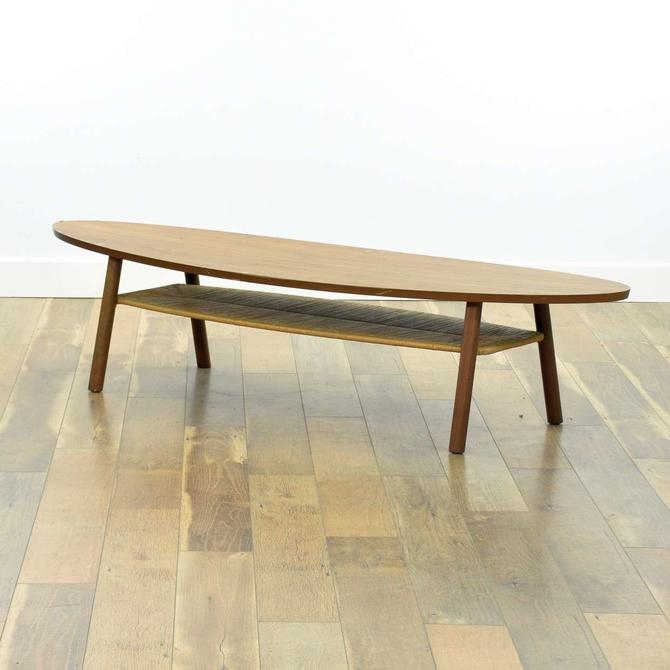 Mid Century Modern Style Oval Coffee Table W Rush Tier