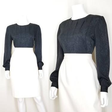 Vintage Pleated Blouse, Medium / Back Button Blouse / Silky Jacquard Office Blouse / Black Cocktail Blouse / 80s Art Deco Style Dress Blouse by SoughtClothier
