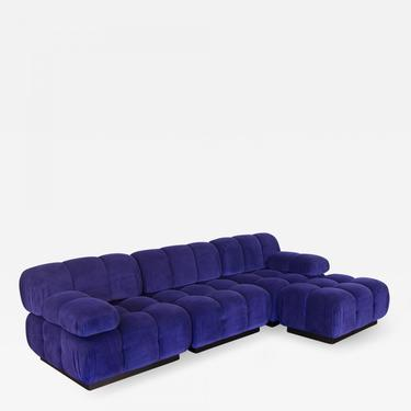 Open Air Modern Purple Blue Velvet Custom Modular Tufted Loveseat with Ottoman by openairmodern