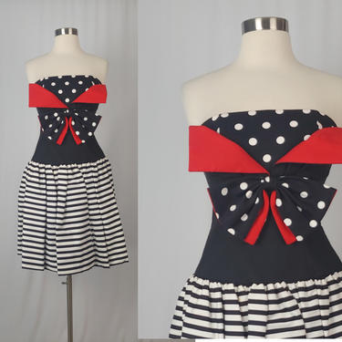 Vintage Eighties Strapless Dress - Huey Waltzer for Darcy Black White Red Striped Polka Dot Dress - XXS 80s Prom Dress by JanetandJaneVintage