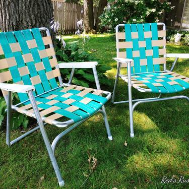 Mid Century Pair of Vintage Turquois & Cream Webbed and Aluminum Folding Garden/Lawn Lounge Chairs by RedsRustyRelics