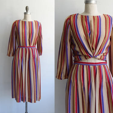 Vintage 80s Silk Two Piece Striped Set/ 1980s Albert Nipon Matching Skirt ad Blouse/ Puff Sleeves/ Size Small by bottleofbread