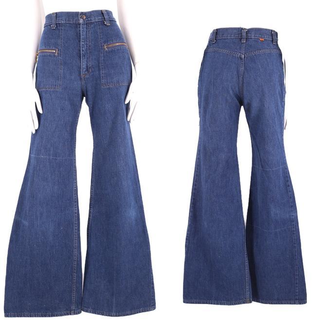 70s LEVIS Orange Tab high waisted denim bell bottoms zipper jeans 27  / vintage 1970s Levis L for Gals rare dark denim flares pants S by ritualvintage
