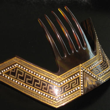 Large Art Deco Egyptian Revival Celluloid Hair Comb Gold Paint Decor Rhinestone, Antique Hair Comb, Hair Ornament  Hair Decoration by CombAgain