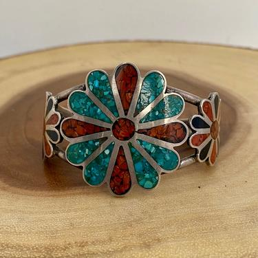 FLORAL FUN Vintage Sterling Silver Cuff with Turquoise, Coral, and Jet Inlay | Floral Design by JM | Native American Style, Boho by lovestreetsf