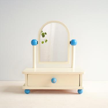 Vintage Wood Jewelry Box with Mirror, 80s White and Blue Painted Wood Drawer Box with Mirror by LittleDogVintage