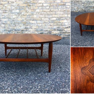 Large Round Walnut Cocktail Table