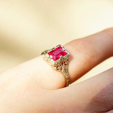 Vintage Art Deco 14K White Gold Filigree Ruby Ring, Pink Ruby, Emerald Cut Gemstone, Ornate Gold Ring, Ruby Engagement Ring, Size 7 US by shopGoodsVintage