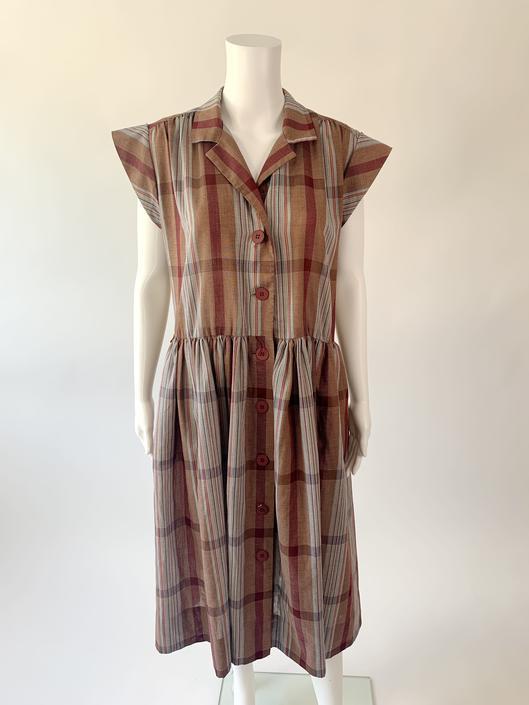Maroon Plaid Button Down Dress