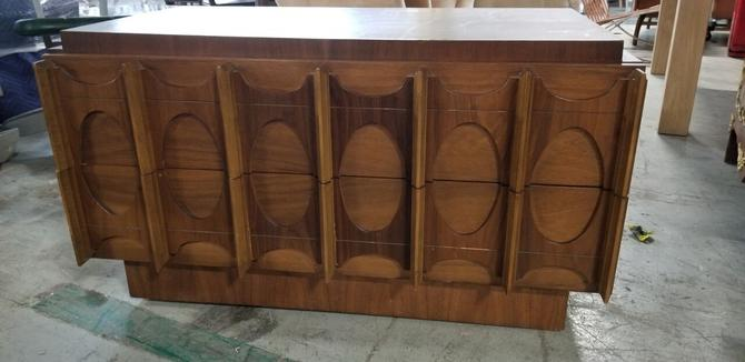 Mid century Tobago Brutalist Small Walnut 2 Drawer Sideboard Credenza