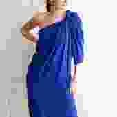 A Detacher Single Sleeve Drape Midi Dress