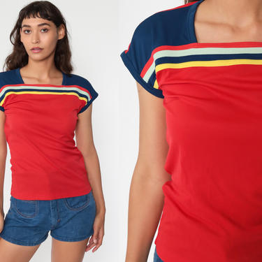 70s Striped Shirt Red Retro Shirt Striped T Shirt Baby Tee Mod Tshirt Cap Sleeve Top Vintage 1970s Blue Blouse Short Sleeve Small by ShopExile