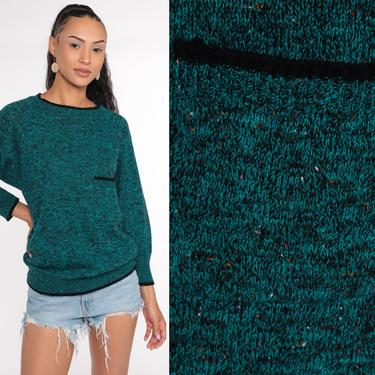 Flecked Green Sweater -- Acrylic Knit Sweater 80s Sweater Knit Slouchy Speckled 1980s Jumper Vintage Pullover Retro Pocket Medium by ShopExile