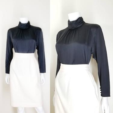 Vintage High Neck Blouse, Medium / Back Button Blouse / Silk Office Blouse / Black Cocktail Blouse / 80s Victorian Style Black Dress Blouse by SoughtClothier
