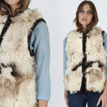 Curly Lamb Fur Vest Vintage 70s Mongolian Fur Vest Real Shaggy Sleeveless Outdoor Womens Marbled Ivory Boho Pockets Vest by americanarchive
