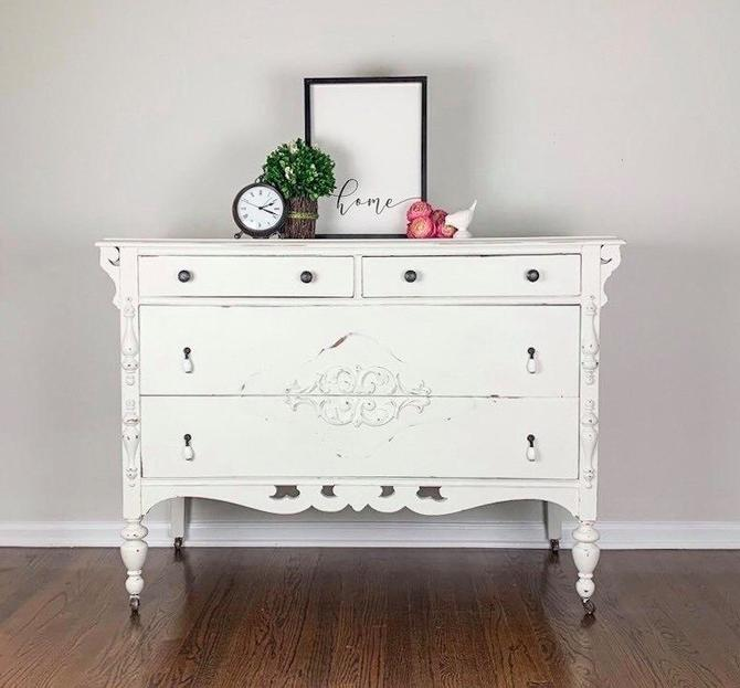 Vintage Depression Era white dresser by MelvenaVintageHome