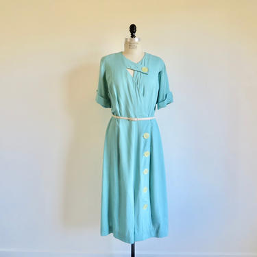 """Vintage 1940's Aqua Blue Day Dress White Buttons Belt Short Sleeves Midi Length Spring Summer Rockabilly Demi Tasse 34"""" Waist Large Tall by seekcollect"""
