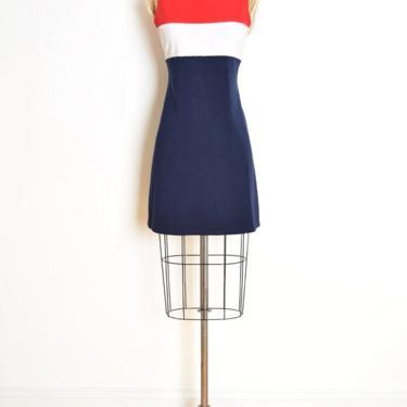 vintage 90s dress red white navy striped color block mod raver mini short M clothing by huncamuncavintage