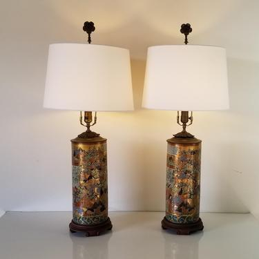 19th Century Japanese Kutani 100 Poems Porcelain Table Lamps - a Pair by MIAMIVINTAGEDECOR