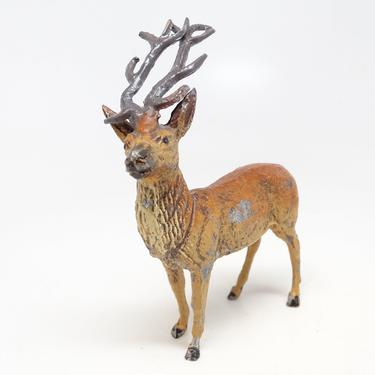 Antique German Metal Reindeer Hand Painted, Toy Lead Deer for Christmas Putz or Nativity by exploremag