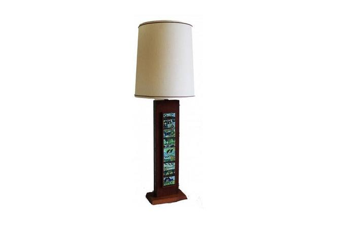 Mid Century  Rectangular Wooden Table Lamp. by Marykaysfurniture