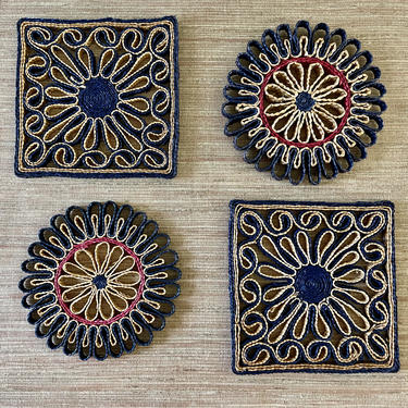 Vintage Trivets - Woven Trivets - Woven Wall Decor - Set of Four - Square Round - Navy Blue and Tan by SoulfulVintage