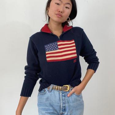 80s Ralph Lauren flag henley sweater / vintage navy blue cotton Polo Ralph Lauren 1/4 zip henley mockneck American flag sweater   M by RecapVintageStudio