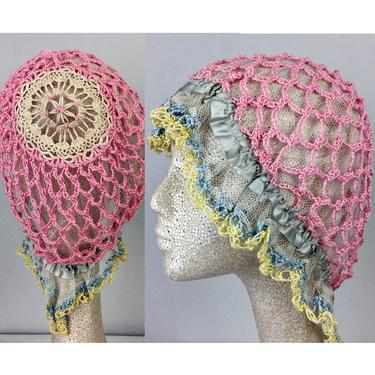 Antique Edwardian Pink Crochet Bonnet Hat 20s Flapper by FlashbackATX