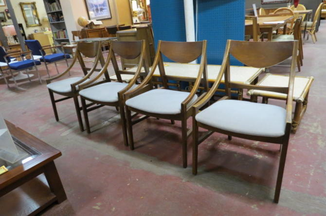 Vintage MCM set of 4 Walnut dining chairs
