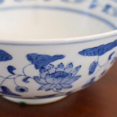 Smaller Blue and White Floral Chinoiserie Ceramic Bowl by CapitolVintageCharm